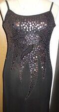 Abend Kleid in Metallic ( schwarz/Silber )   , Gr : 36- 38