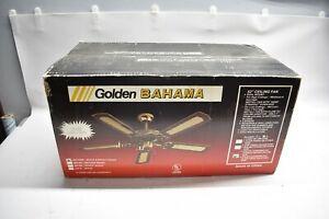 "Vintage Sealed / NOS White & Bright Brass 52"" Golden Bahama Ceiling Fan 4 Blades"