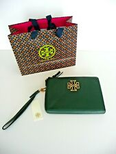 Tory Burch Dark Green Britten Pebbled Leather Wristlet Pouch Bag Retail