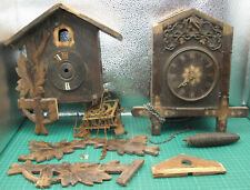 Lot of 2 Antique Black Forest Cuckoo Clocks for Restoration, Spares & Repairs