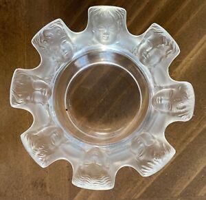 Lalique Trinket Dish St Nicholas Cherub Lovely Retired Art Glass Piece