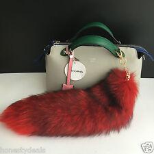 "Red /Black 16"" Large Genuine Real Fox Tail car Key chain Bag Charm Tassle tag"