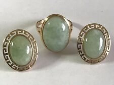 14K Solid Yellow Gold Oval Jade Ring and Earring Jewelry Set