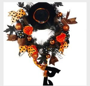"""Halloween Witch Hat and Legs Wreath Whimsical Decorations 33"""" NEW"""
