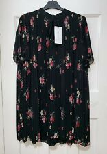 000fc17e37 Zara Black Floral Printed Pleated Jumpsuit Dress With Shorts Detail Size L
