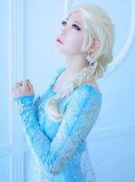Hot Sale!Frozen Snow Queen Elsa Blonde Weaving Braid Cosplay Wig + Free Wig Cap