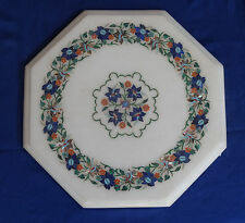 "12"" Marble Coffee Table Floral Lapis Pietra Dura Mosaic Special Home Deocrative"