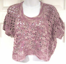 Augden NY Crocheted Sweater sz M Hydrangea purple NEW Anthropologie $258