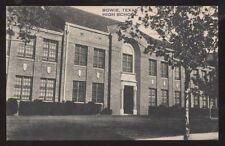 Postcard BOWIE Texas/TX  High School Building view 1930's?