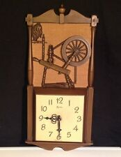 Vintage Syroco Wall Clock w Antique knitting Wheel Design