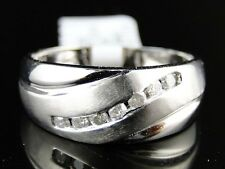 NEW MENS WHITE GOLD ROUND CUT DIAMOND 9 MM WEDDING BAND CHANNEL RING 1/4 CT
