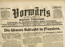 VORWÄRTS (6. Oktober1917): Die schwere Schlacht in Flandern