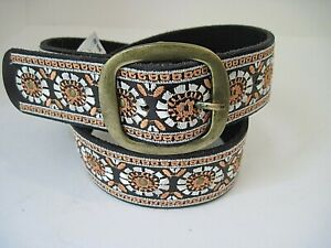 Lucky Brand Leather Floral Embroidered Studs Belt Size S Missing Some Studs