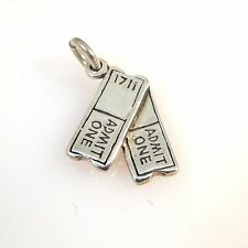 .925 Sterling Silver TICKETS Two Admit One CHARM NEW Pendant Movie 925 HB10