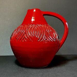 Italica Ars Florentine Italy 1960's Red Ceramic Vase (Bitossi Bagni Interest)