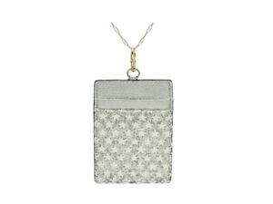 """Glitter Stars Faux Leather ID Badge Card Holder with 34"""" Neck ~ Great Gift Idea!"""