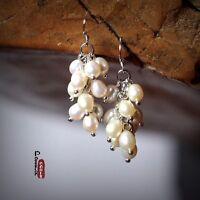 Orecchini Perle Da Coltivazione D` Acqua Dolce Bianca Grape Argento 925 TZ1 x Aa