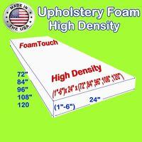 "High Density Upholstery Foam Seat Cushion - 24"" x 72"", 84"", 96"", 108"", 120"""