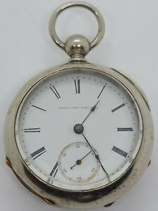 Antique 1884 ELGIN Nat'L Watch Co Victorian 11J Key Wind Silver Pocket watch 18s