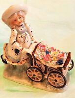 Fine Porcelain GIRL WITH FLOWER CART LENWILE- ARDALT ART WARE ROC-Japan
