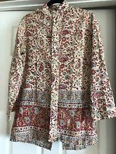 Hand Block Painted KARAVAN 100% cotton VINTAGE blouse Size Large Wearable Art