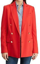 NWT Ralph Lauren $295 CLASSIC RED WOOL Double-Breasted Blazer/Jacket 16 GOLD