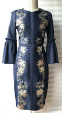 Ted Baker 'Jeeane' Stardust Flute Sleeve Dress Dark Blue/Gold Size 2 UK 10 New