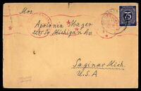 GERMANY DORFEN JULY 2 1937 SINGLE FRANKED CENSORED COVER TO SAGINAW MI USA