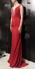 Beaded Red Long Prom Dress / Wedding Gown Brand New