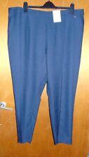 "M&S clásica pernera recta Tire de Plisado Pantalones Reino Unido 24 M L29"" Azul marino BNWT"