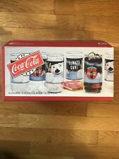 NIB Coca Cola Always Indiana 16 oz.Glasses 1995 Logo Glass Set of 8 Christmas