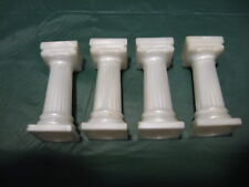 "Vintage Wilton Ivory White Plastic 3"" Tall Wedding Cake Pillars Lot of 4"