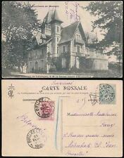 POSTAGE DUE BELGIUM from FRANCE 1905 PPC MORLAIX...T CACHET...CHRISTMAS DAY