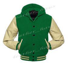 Genuine Leather Sleeve Letterman College Varsity Wool Jacket Hoodie CRS-CRS-BB-H