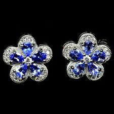 Sterling Silver 925 Stunning Genuine Blue Violet Tanzanite Stud Earrings