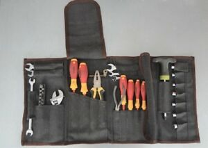 Tool Roll With 28 Pockets Heavy Duty Canvas Leather Straps  Steel Buckles