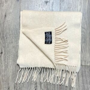 """Vintage Guy Laroche 100% Cashmere Rectangle Ivory Scarf Approx 60""""x10"""""""