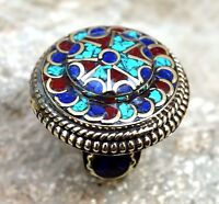 Turquoise Coral Stone Nepali Tibetan Ring Lapis Ethnic Jewelry Hippie Gypsy Boho
