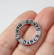 Dance Affirmation Circle Charms Antique Silver Tone 2 Sided (4 charms in one lot