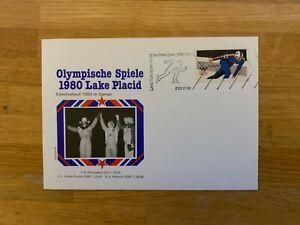 USA US GERMANY 1980 FDC 33 OLYMPICS LAKE PLACID SPEED SKATER PETRUSSEWA