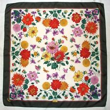 "Authentic GUCCI Floral DAHLIA Green Pink Red INSECTS Hand Rolled Silk 33"" Scarf"