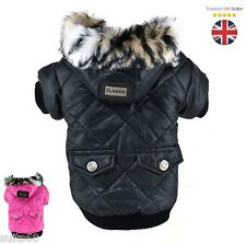 UK Best Winter Fleece Lined Coat Parka Jacket for Yorkie Chihuahua Pug Dogs Pets