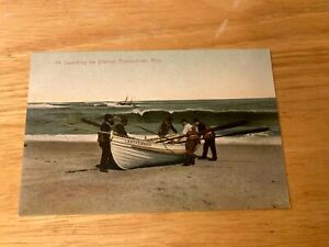 LAUNCHING THE LIFEBOAT Provincetown Mass Postcard Unused D/B