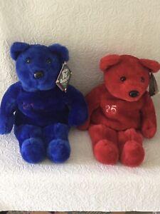 "Pair of Salvino's Big Bammers Beanbag Bears 1999 Mark McGwire And Sammy Sosa 15"""