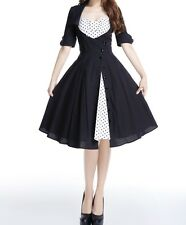 7b82497eb41 Black White Polka Dot Mock Double Swing Dress Rockabilly Retro 18 Plus 18W  2X