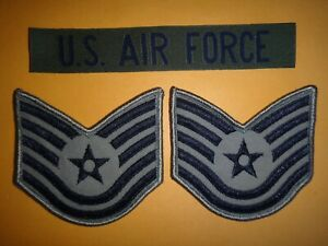 US AIR FORCE Print Pocket Tape + Pair Of USAF Technical SERGEANT Small Chevrons