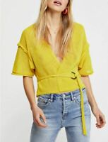 Women's NWT Free People Oh Hello Cardi short sleeve Sweater Yellow size L