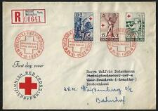 Finland 1955 Registered Heisinki Finish Red Cross Set On Fdc To Germany
