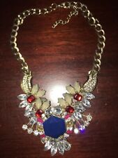 Stunning Large Runway Crystal Multicolored  Shourouk Necklace