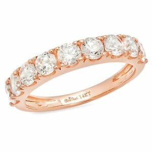 1.6ct Round Cut Stackable Bridal Wedding Petite Anniversary Band 14k Rose Gold